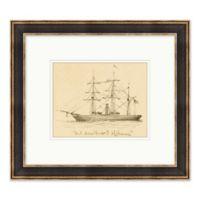 Ship Sketch 17.75-Inch x 15.75-Inch Paper Framed Print Wall Art in Black/White