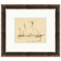 Ship Sketch 15.75-Inch x 17.75-Inch Framed Print Wall Art in Black/White