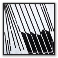 Basket Case Abstract 20-Inch Square Framed Canvas Wall Art in Black/White