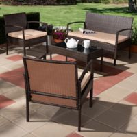 Baxton Studio 4-Piece Neha Patio Set in Beige/Dark Brown