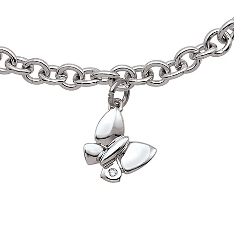 My First Diamond Sterling Silver .0075 cttw Diamond Butterfly Bracelet