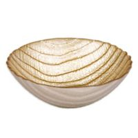 Classic Touch Trophy Wavy Glass Dessert Bowl in Gold
