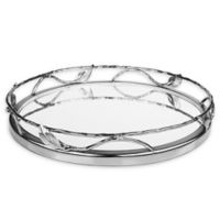 Classic Touch Leaf 11.25-Inch Mirrored Round Tray