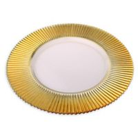 Classic Touch Trophy Ridged Charger Plates in Gold (Set of 4)