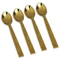 Classic Touch Gem Stainless Steel Dessert Spoons in Gold