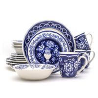 Blue Garden 16-Piece Hand-Painted Dinnerware Set