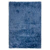 "Rizzy Home Striped Shag 5' X 7'6"" Shag Area Rug in Blue"