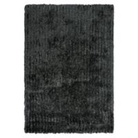 "Rizzy Home Striped Shag 5' X 7'6"" Shag Area Rug in Black"