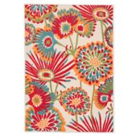 Jaipur Floral Indoor/Outdoor 7'4 x 9'6 Area Rug in Red