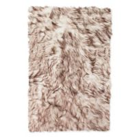 Luxe Faux Fur™ Hudson 2' X 3' Tufted Area Rug in White/brown