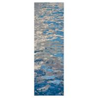 Rizzy Home Watercolor 8' Runner Tufted Runner Rug in Blue