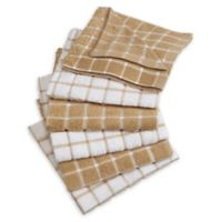 Design Imports Windowpane Terry Cloth Kitchen Towels in Beige (Set of 6)