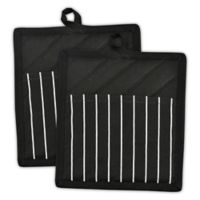 Design Imports Geometric Stripe Pot Holders in Black/White (Set of 2)