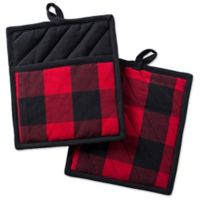 Design Imports Buffalo Check Pot Holders in Red (Set of 2)