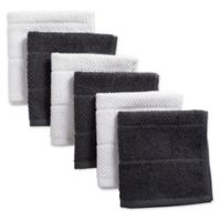 Design Imports 6-Pack Basic Terry Dishcloths in Grey/White