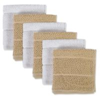Design Imports 6-Pack Basic Terry Dishcloths in Tan/White