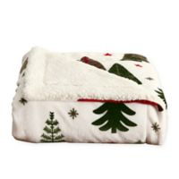 Great Bay Home Holiday Trees Reversible Throw Blanket in Red/white/green