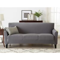 Great Bay Home Seneca Velvet Strapless Sofa Slipcover in Grey