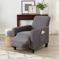 Great Bay Home Seneca Velvet Strapless Recliner Slipcover in Grey