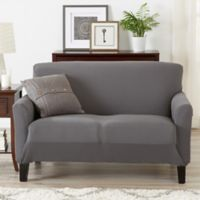 Great Bay Home Seneca Velvet Strapless Loveseat Slipcover in Grey