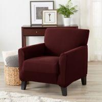 Great Bay Home Seneca Velvet Strapless Chair Slipcover in Burgundy