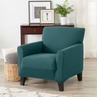 Great Bay Home Seneca Velvet Strapless Chair Slipcover in Teal