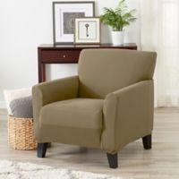 Great Bay Home Seneca Velvet Strapless Chair Slipcover in Warm Sand