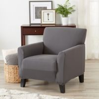 Great Bay Home Seneca Velvet Strapless Chair Slipcover in Grey