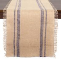 Design Imports Burlap 108-Inch Double Border Table Runner in French Blue