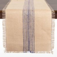 Design Imports Burlap 108-Inch Striped Table Runner in French Blue