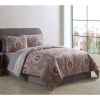 VCNY Home Brynn Reversible Queen Comforter Set in Grey/Gold