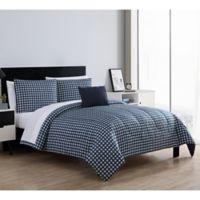 VCNY Home Glenville King Comforter Set in Navy/White