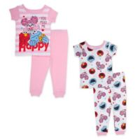 Sesame Street® Size 12M 4-Piece Happy Little Monster Pajama Set in Pink