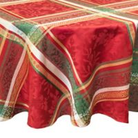 Bardwil Linens Holly Time 70-Inch Round Tablecloth in Red
