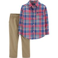 carter's® Size 6M 2-Piece Plaid Shirt and Khaki Pants Set in Red/Blue