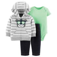 carter's® Size 12M 3-Piece Dog Cardigan Set in Grey