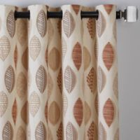 Abstract Leaf 63-Inch Grommet Window Curtain Panel in Brick