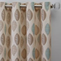 Abstract Leaf 108-Inch Grommet Window Curtain Panel in Natural