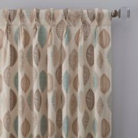 Abstract Leaf 108-Inch Pinch Pleat Window Curtain Panel in Natural