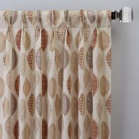 Abstract Leaf 08-Inch Pinch Pleat Window Curtain Panel in Brick