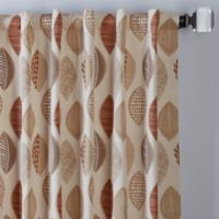 Abstract Leaf 108-Inch Rod Pocket/Back Tab Window Curtain Panel in Brick