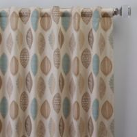 Abstract Leaf 63-Inch Rod Pocket/Back Tab Window Curtain Panel in Natural