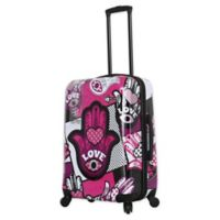 Mia Toro ITALY Hamsa Love Monochrome 24-Inch Hardside Spinner Checked Luggage