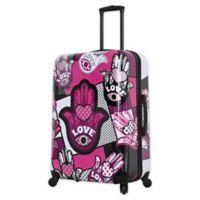 Mia Toro ITALY Hamsa Love Monochrome 28-Inch Hardside Spinner Checked Luggage