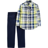 carter's® Size 12M 2-Piece Plaid Shirt and Chino Pants Set in Yellow/Blue