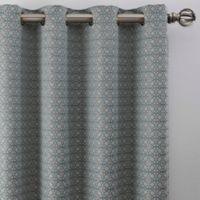 Boratta Geo 108-Inch Grommet Window Curtain Panel in Silver Blue