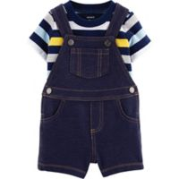 carter's® Size 24M 2-Piece Striped Shirt and Short Coverall Set in Blue