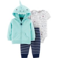 carter's® Size 9M 3-Piece Dinosaur Cardigan Set in Blue