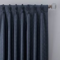 Dimensions 63-Inch Pinch Pleat Window Curtain Panel in Navy