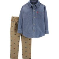 carter's® Newborn 2-Piece Dinosaur Shirt and Khaki Pants Set in Chambray